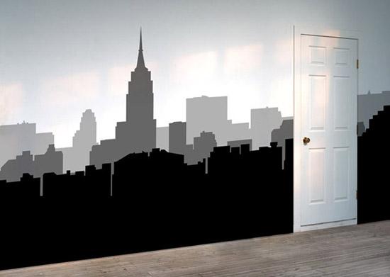 Рисунок города на стене своими руками