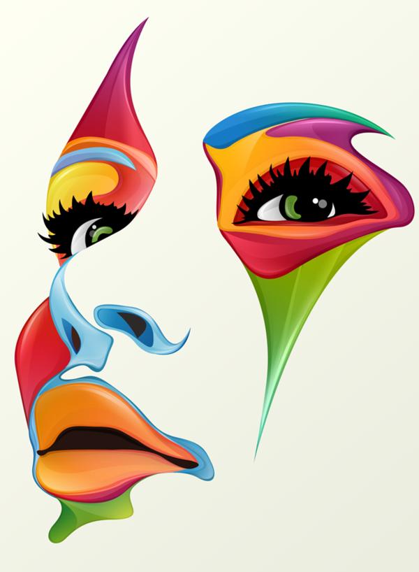 графические рисунки с лицами девушек